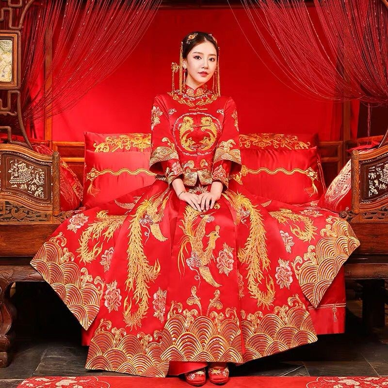 Xiuhe bride 2019 new dragon and Phoenix gown wedding Chinese dress cheongsam dress wedding dress wedding wedding dress toast summer