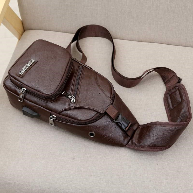 ? Chest bag mens bag Single Shoulder Bag Messenger Bag mens casual PU leather bag large capacity Backpack New Trend