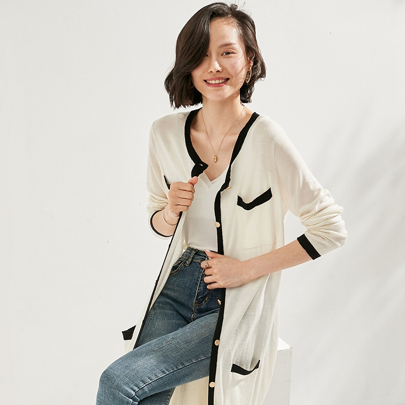 2021 womens middle long 100% pure wool cardigan sweater small fragrance temperament coat shawl with thin sweater
