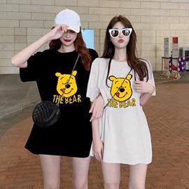 2021春夏季ins新款宽松短袖女T恤韩版中长款卡通上衣大码女装上衣