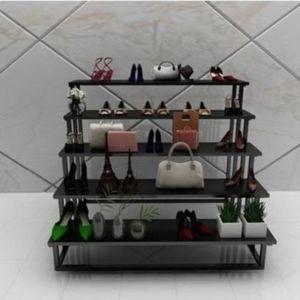 简约鞋架店落地陈列多层男立式内衣白色台便携式展示中岛