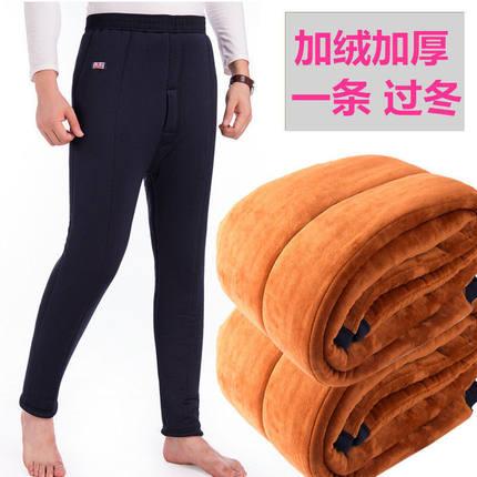 男士三层驼绒保暖裤加绒加厚棉裤中老年冬季高腰老年人超厚裤子