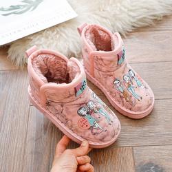 小背篮儿童雪地靴2020冬季新款女童图腾短靴加绒冬鞋宝宝保暖棉鞋