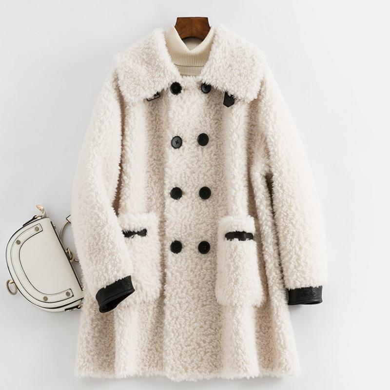 2019新款羊剪绒颗粒皮草中长款女装复合皮毛一体羊羔毛大衣外套冬
