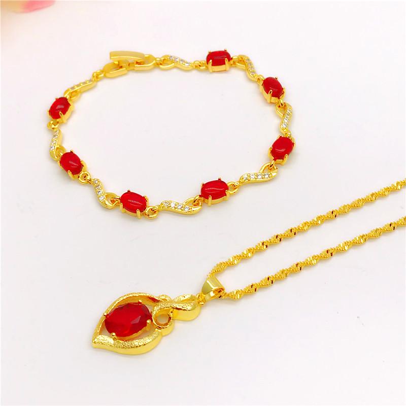 新款镀金镶红宝石手链女仿黄金越南沙金饰品久不掉色欧币手链首饰