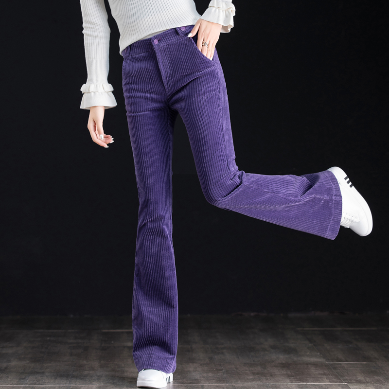 Purple corduroy trousers with a drop feel and corduroy pants womens high waists show thin skinny tight flared pants Retro
