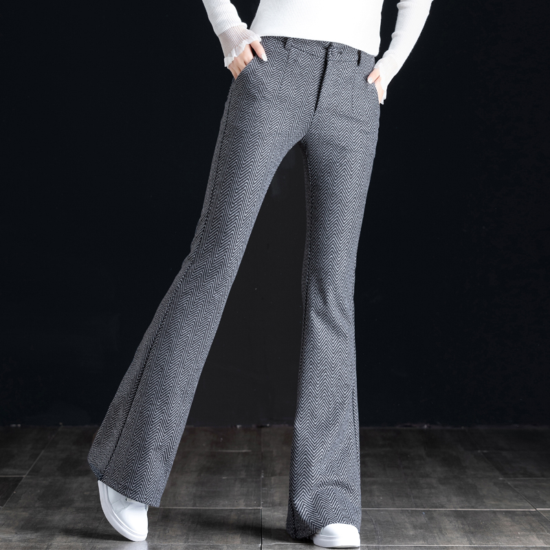 Wide leg flared pants womens high waist and sagging feeling thickened woolen trousers childrens autumn winter 2020 new look thin and versatile Hong Kong Style