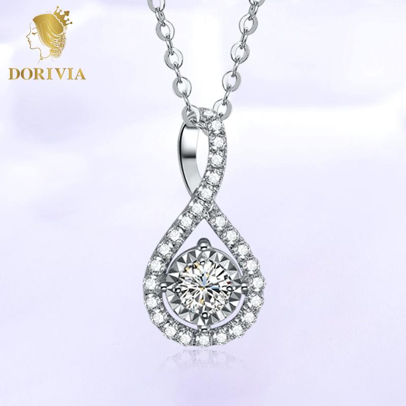 Dorivia dolivia engagement diamond pendant white 18K Gold Platinum Diamond Pendant Necklace collarbone chain female