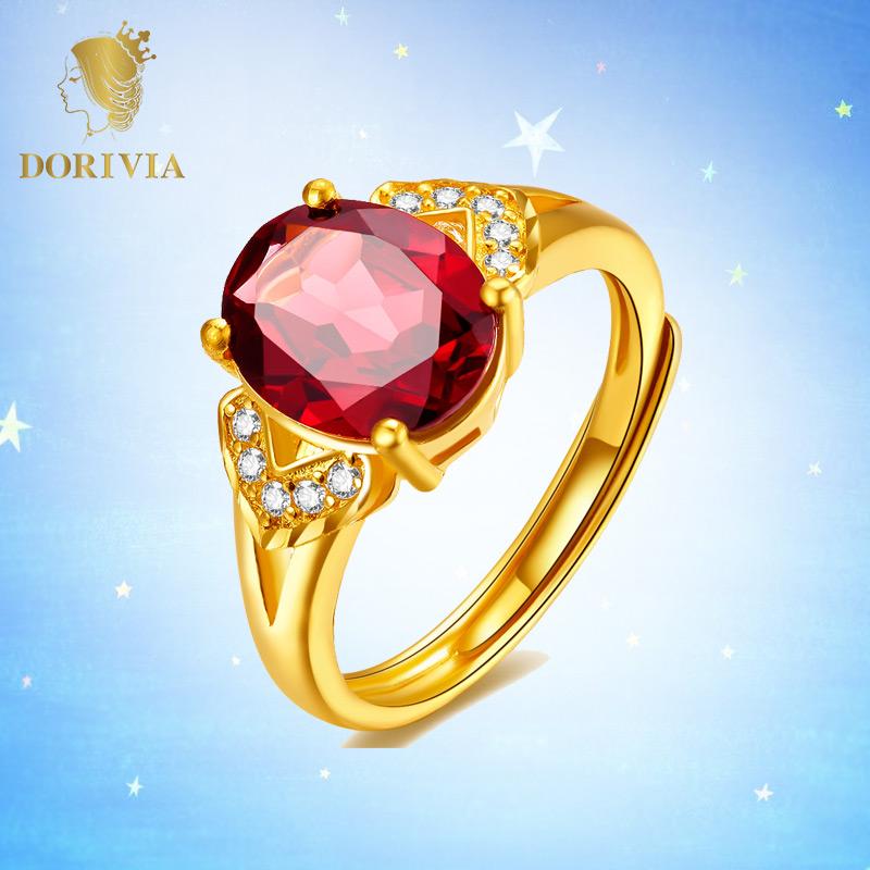Dorivia dolivia agreed gold ring female natural gem ring Garnet Ring