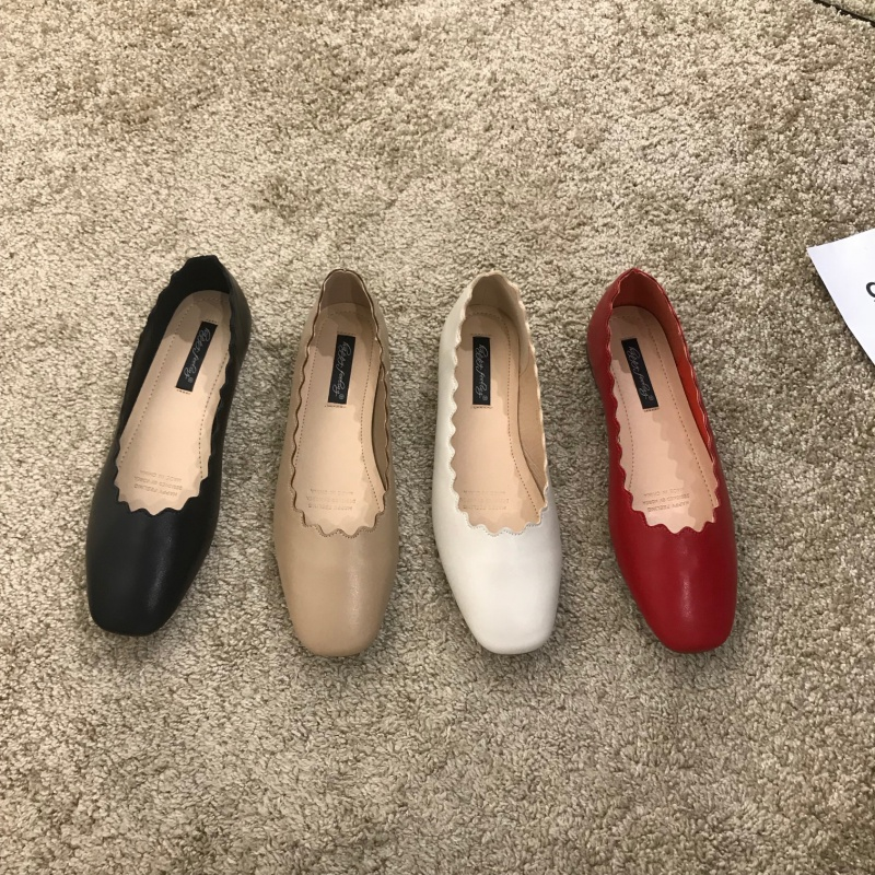 2020 spring new single shoes womens lovely round lace flat shoes summer shallow mouth wave edge sweet ballet shoes
