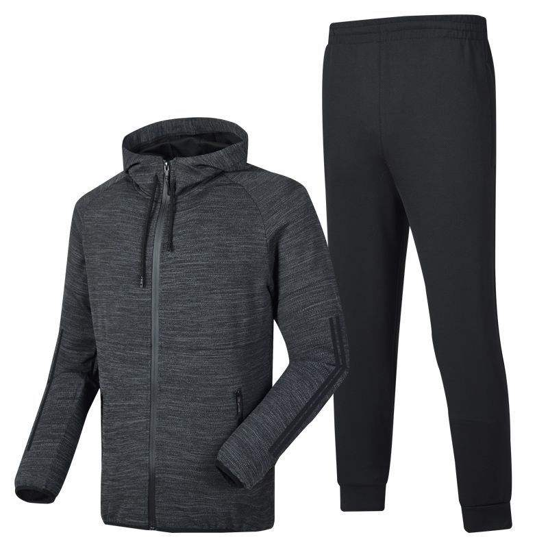 Mens leisure suit long sleeve trousers autumn running fitness sports suit hooded cardigan sweater suit mens wear