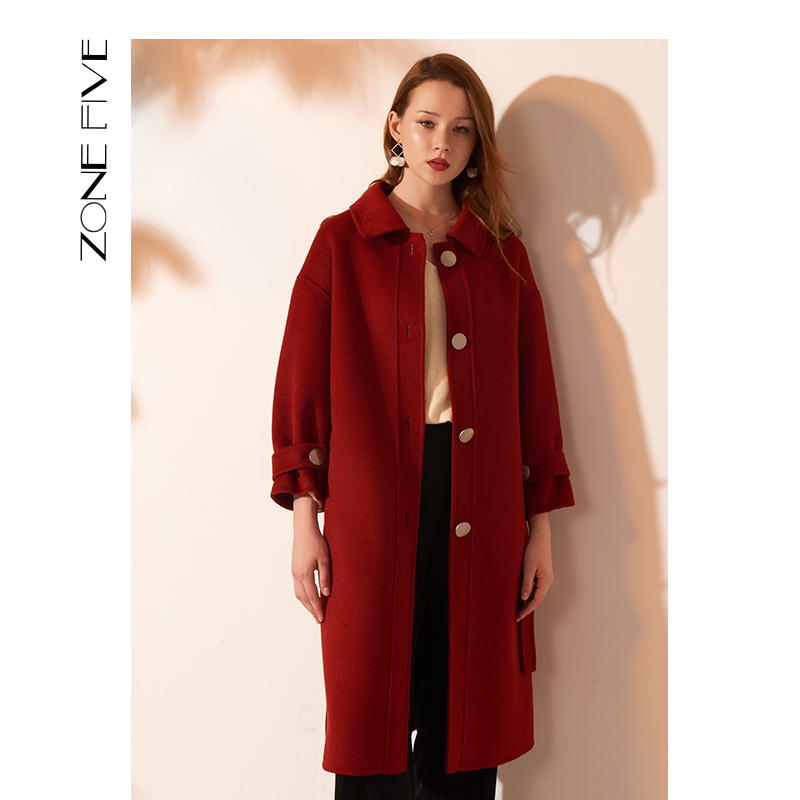 Red wool coat 2020 new big red wine red double faced tweed long wool double faced cashmere coat female