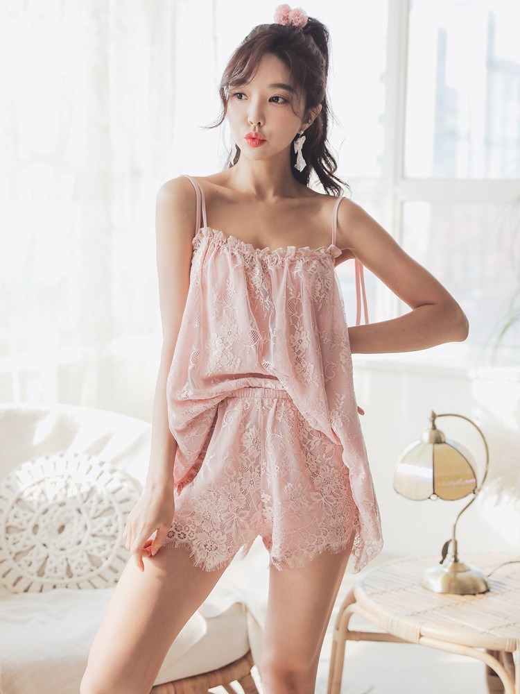 Spring suspender pajamas suit women summer Lace Sexy nightdress women adjustable suspender two piece home wear