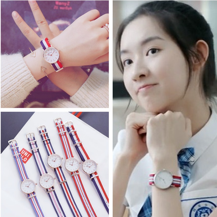 Ins original Sufeng watch female little fresh girl friends a pair of sisters middle school students Korean version simple ulzzang canvas belt