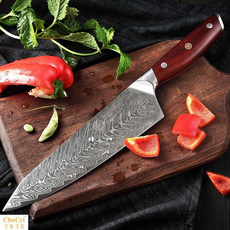 西式厨刀家用厨房刀具专业西餐厨师刀大马士革菜刀片刀料理刀