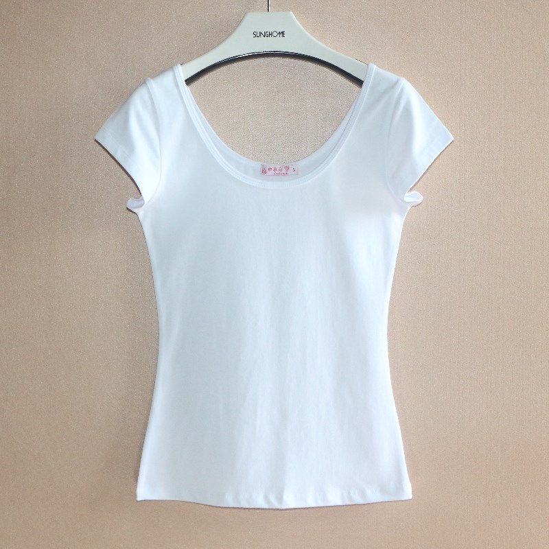 Beijing short tight short sleeve T-shirt womens low cut double U-neck leaky back sexy half sleeve top with large neckline and pure cotton backing