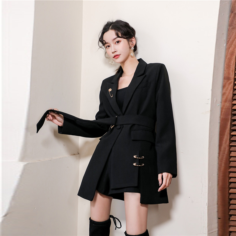Net red retro suit coat for womens light and ripe wind vertical design sense small Korean loose one button casual suit