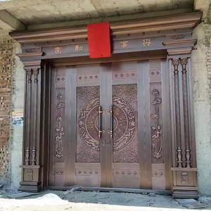 纯铜门别墅大门双开门对开门子母门