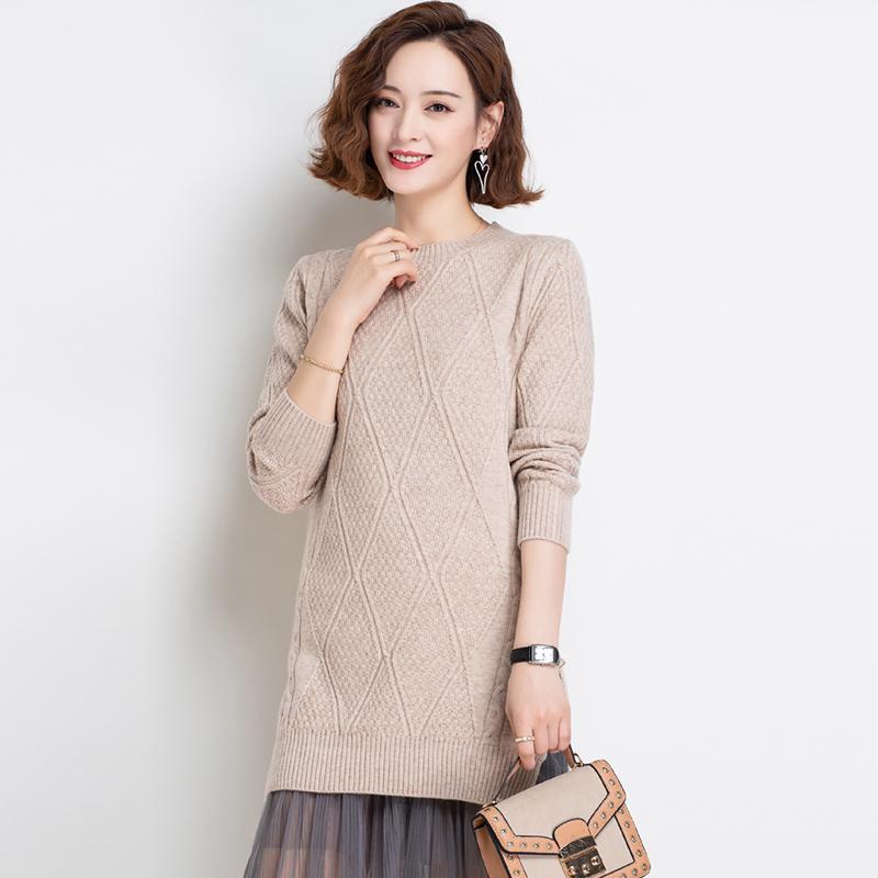 羊毛衫女2020新款毛衣裙针织秋季外穿长袖中长款上衣优雅圆领百搭