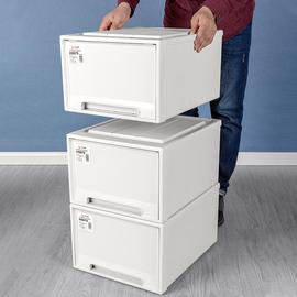 洋洋鱼收纳箱抽屉式实色塑料衣服内衣收纳盒教室整理箱衣柜储物箱