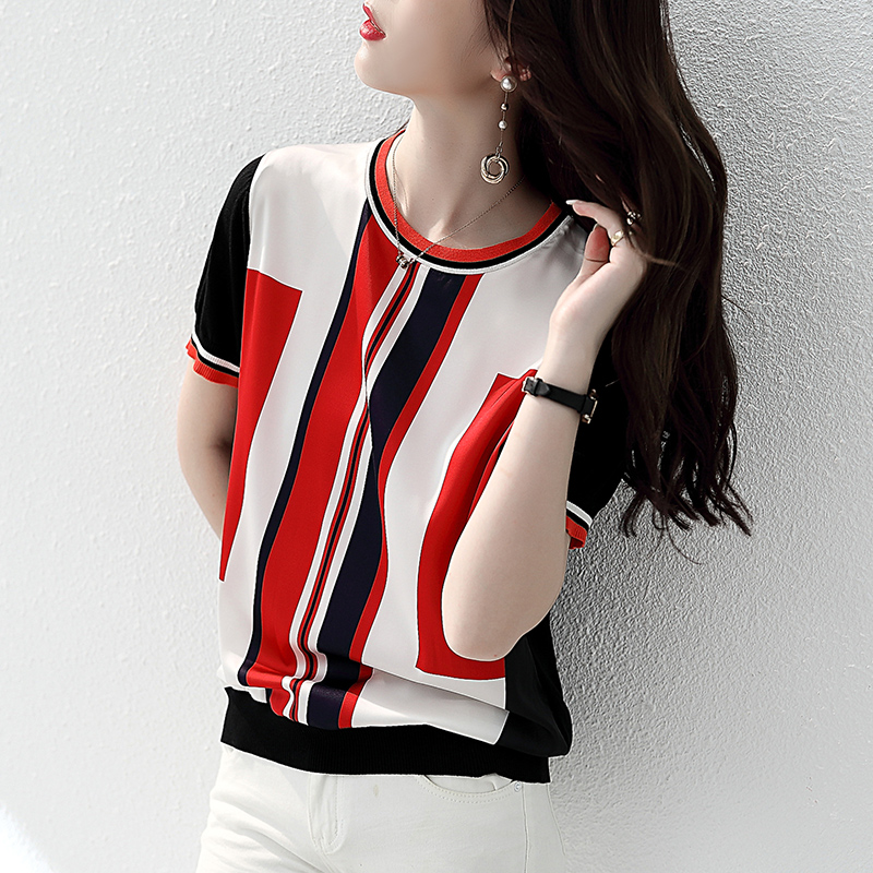 Julian 2021 new summer dress round neck short sleeve knit stitched T-shirt retro thin top loose and thin women