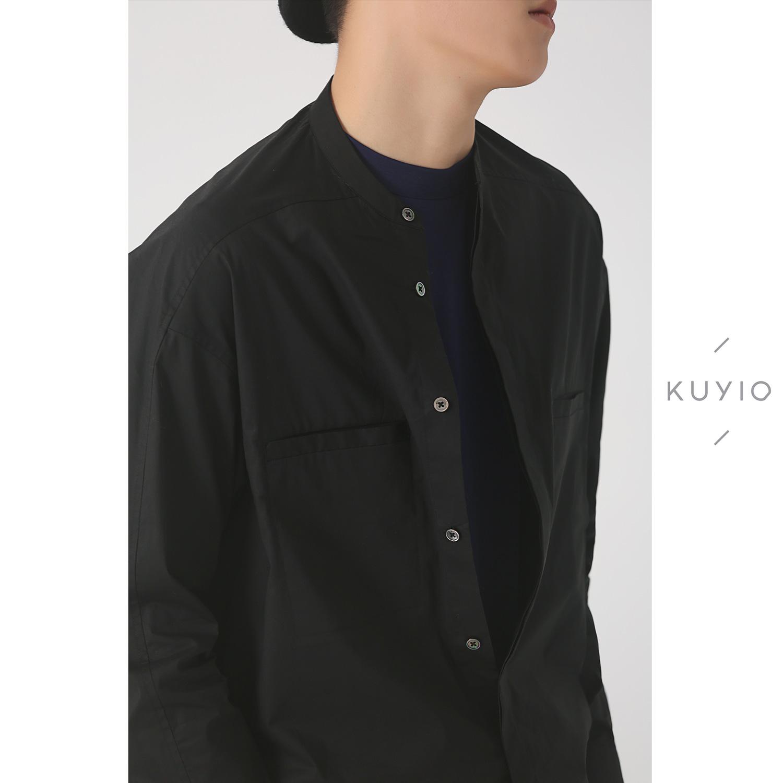 KUYIOU/设计师款 前倒肩圆领大口袋暗扣廓形弹力府绸素板棉衬衫男