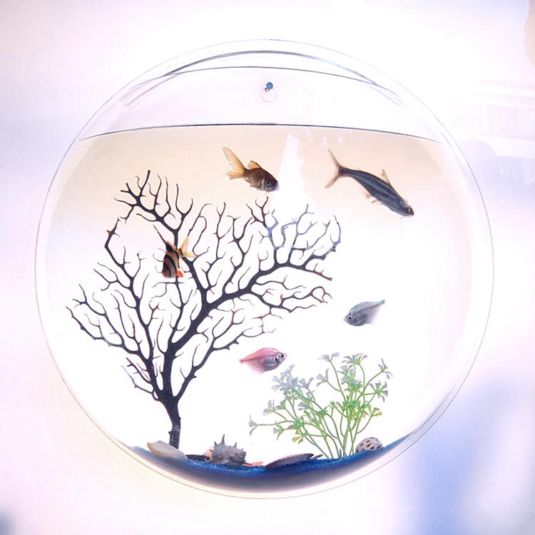 家居创意水族箱壁挂鱼缸客厅墙饰墙面微景金鱼缸卧室立体草缸花瓶,可领取2元天猫优惠券