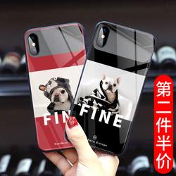 苹果11手机壳斗牛犬镜面玻璃化妆镜iphone12promax可爱小狗x带镜子的xs女款8plus网红情侣xr新款7p时尚潮流6s