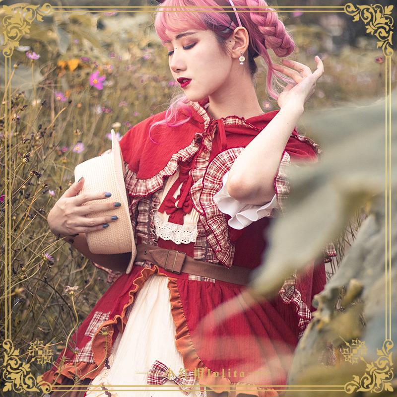 Original design of Lolita little red hat jsk Cape retro pastoral Lolita skirt authentic