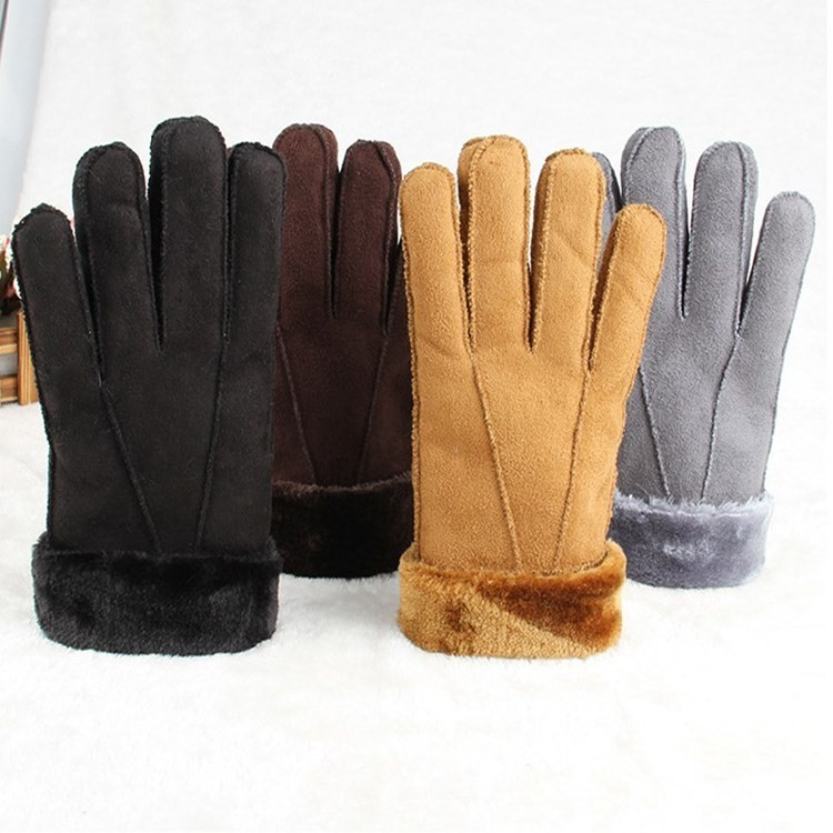 Suede fashion non leather gloves mens and womens cycling thickened riding gloves warm and plush in winter