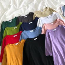 纯棉纯色短袖T恤女学生夏季韩版宽松白色上衣bf风百搭半袖体恤潮19色大码女士打底衫卡通印花经典款2021年新款100雅晨衣橱
