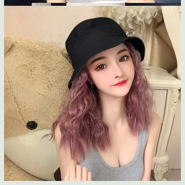 。 Wig with hat one womens short curly hair autumn winter net red fashion hooded real hair ribbon wig fishermans hat