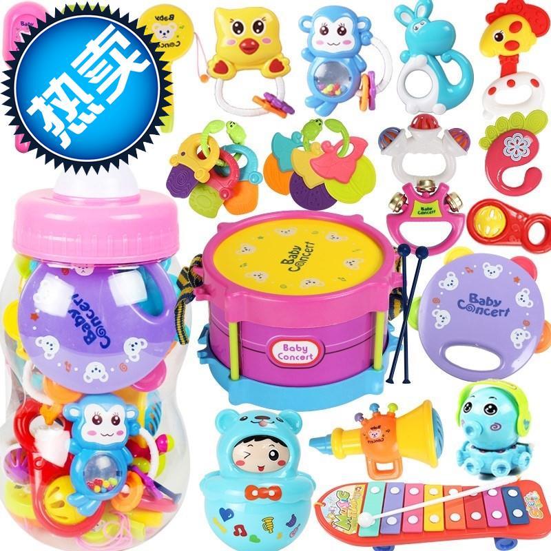 婴儿摇铃大奶瓶套装手w摇铃新生儿安抚玩具0-1岁6-12个月宝宝3