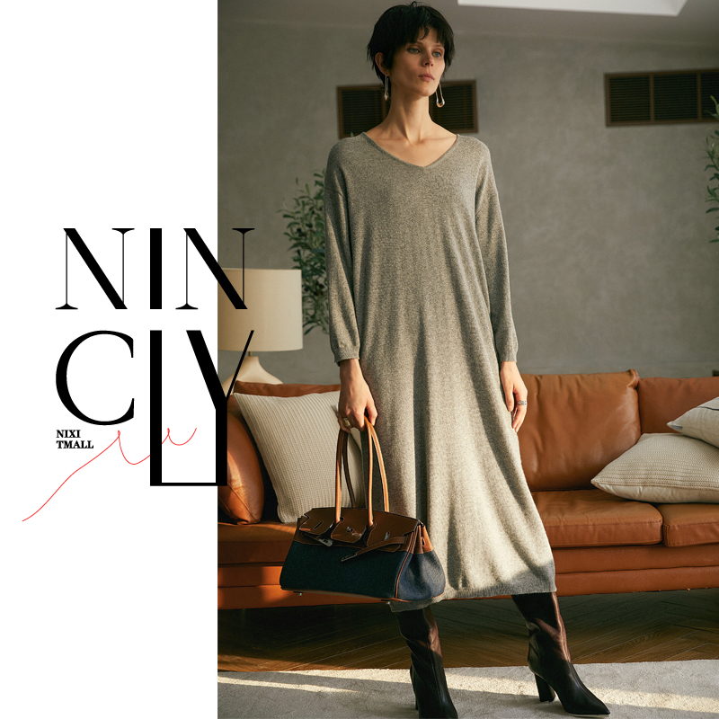 Womens knitted wool dress with long sleeves in autumn and winter
