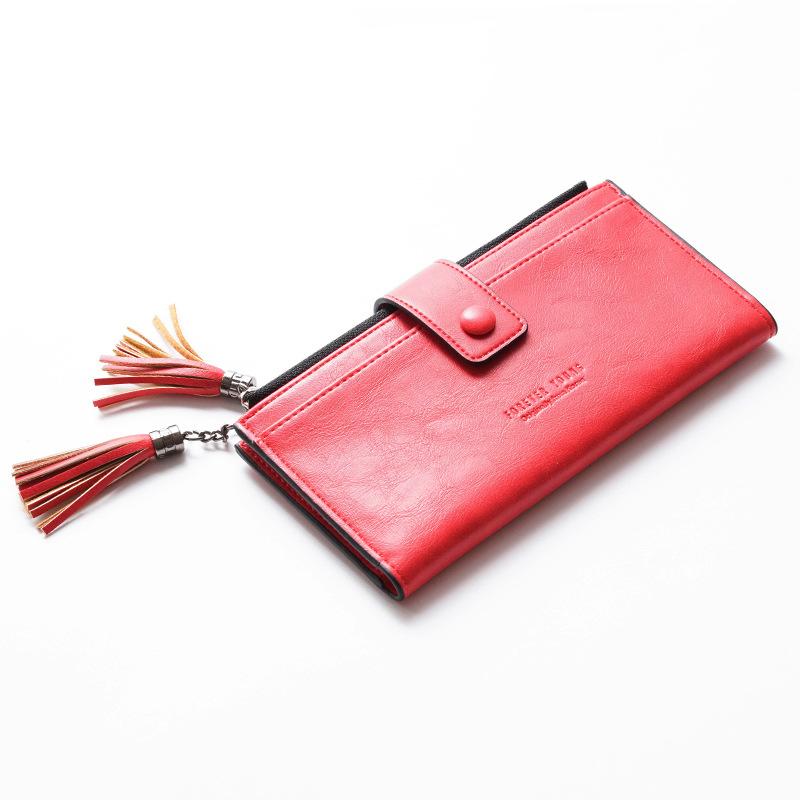 Fashion double fold double flow 2020 new womens double zipper thin long Su hand multi card mobile wallet
