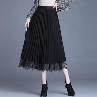 黑色百褶裙女秋冬半身裙中长款高腰两面穿网纱裙双面a字蕾丝裙子