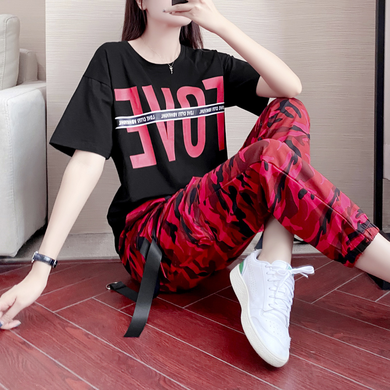 Square dance red camouflage pants set female spring and summer short sleeve Sailor Dance clothes fashion slim fit shuffle dance practice clothes