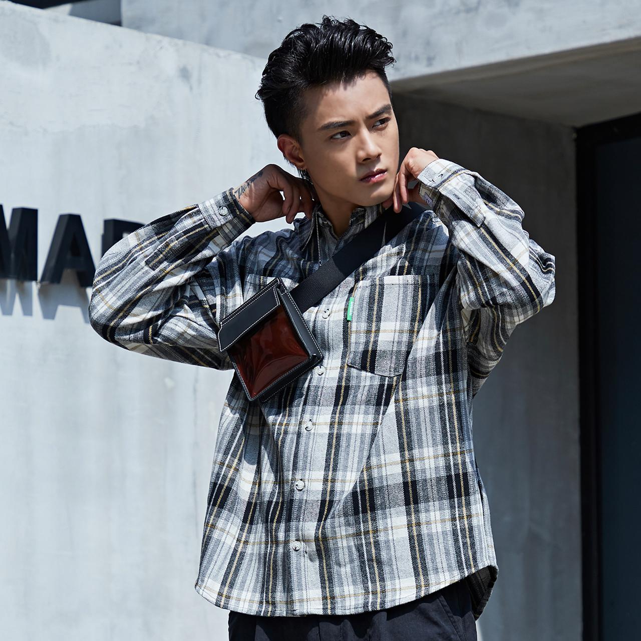 WEX 衬衫男长袖潮牌灰白格子衫宽松男韩版潮流ifashion男衣