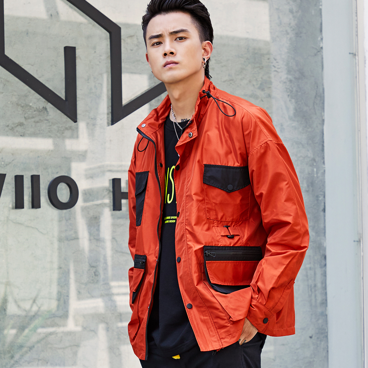 Wex national fashion coach jacket, functional style, handsome splicing, multi pocket, versatile tooling jacket, new fashion in autumn