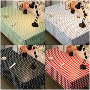 格子大圆桌桌布防水防油防烫免洗北欧pvc小圆形餐桌布台布ins书桌
