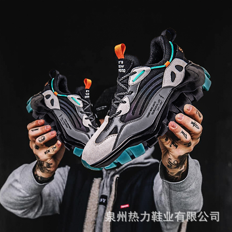 Tuyuandong low top dad shoes leisure sports shoes autumn mens mesh shoes mens single shoes lace up Pu hall car suture