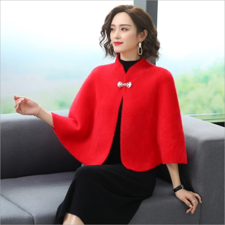 Winter Xipo cheongsam Cape Wedding Dress loose cheongsam skirt office knitting solid color air conditioning room top