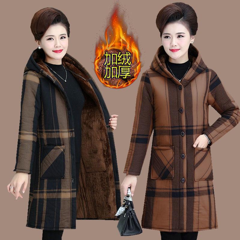 中老年女装加绒棉衣外套2020冬装新款妈妈休闲棉服加厚中长款风衣