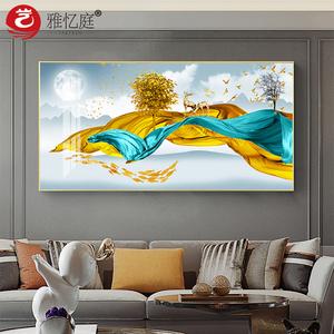 横幅客厅装饰画家居饰品轻奢麋鹿墙上挂画别墅样板房卧室墙画壁画