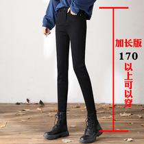 黑色魔术裤加长裤子女175高个子长裤胖MM200斤大码高腰小脚牛仔裤