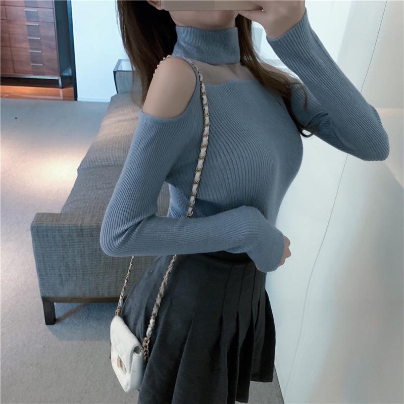 韩版露肩上衣长袖针织打底衫女秋冬新款半高领毛衣2020年内搭洋气