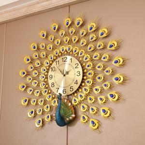 夜光孔雀挂表钟表挂钟客厅家用时尚静音现代大气装饰个性创意时钟