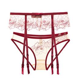 性感蕾絲吊襪帶內衣女網紗誘惑丁字褲內褲絲襪吊帶襪套裝薄款夏季圖片