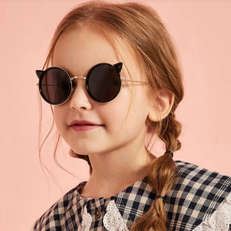 New childrens Sunglasses European and American cat cartoon lovely cat ear Sunglasses fashionable round baby glasses