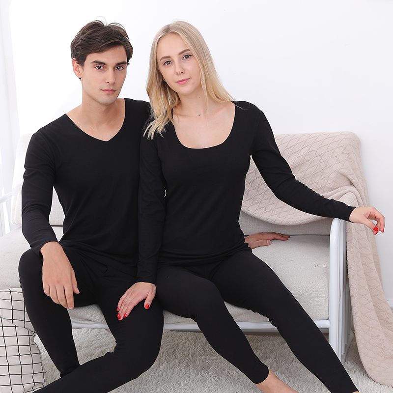 Mens V-neck seamless thermal underwear Plush autumn clothes and autumn pants suit mens and womens long sleeve inner wear bottom slim women
